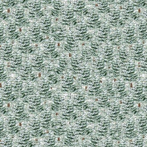 Blank Quilting Joyful Tiding Snowy Pine Trees Green