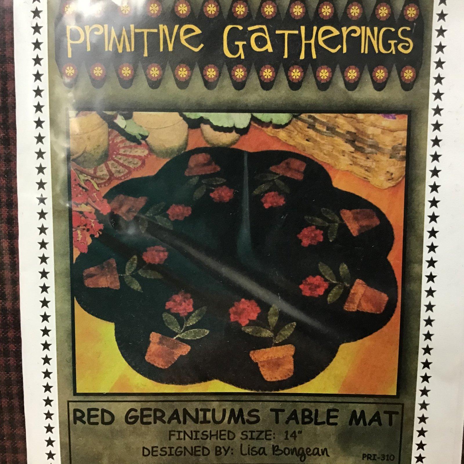 Kit W Primitive Gatherings Red Geraniums Table Mat