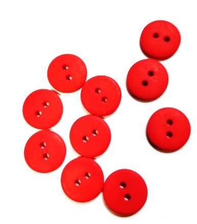 Buttons JAB 1/2 Christmas Red 10 Pk.