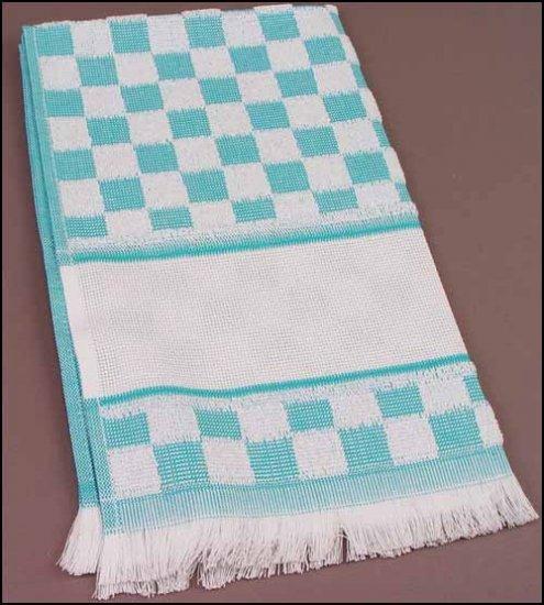 Tea Towel Verona Turquoise Check for Cross-stitch