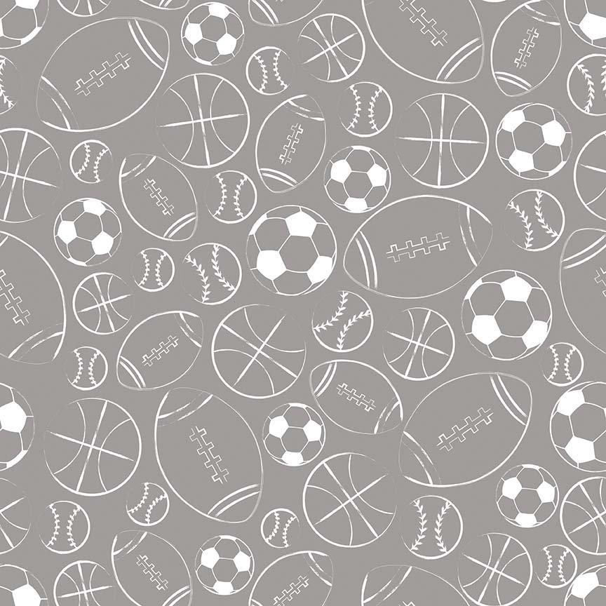 Riley Blake Designs Sports Balls Gray