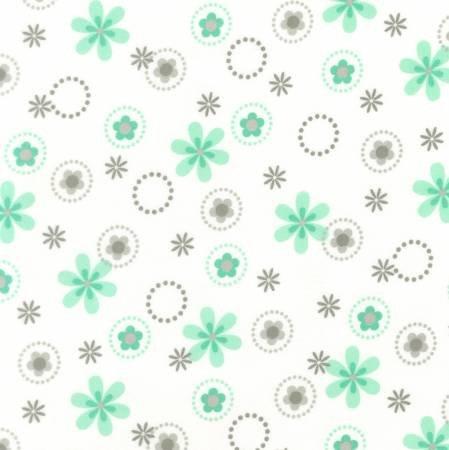 Kaufman Cozy Cotton Flannel Mint Flower