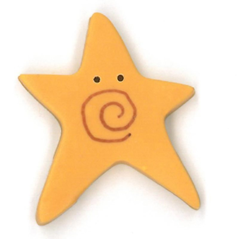 Button - JAB Star Golden Swirly Star Extra Large