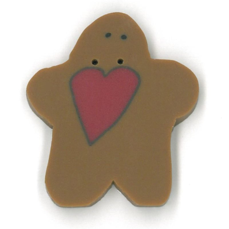 Button - JAB Gingerbread with Heart