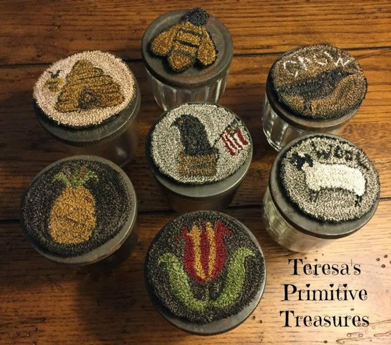 PT PN Teresa's Primitive Treasures Everyday Jar Toppers & Ornaments