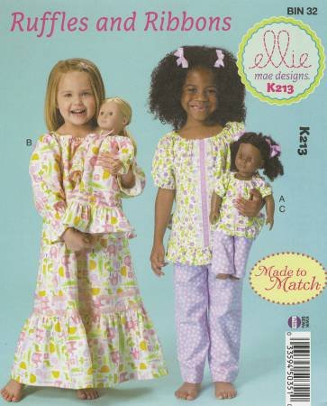 PT S Ellie Mae Designs Ruffles and Ribbons Girls Pajamas