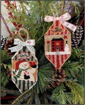 PT PN Teresa Kogut Snowman & House Ornaments