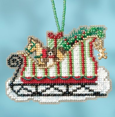 CS Kit Mill Hill Sleigh Ride Charmed Ornaments - Toyland Sleigh