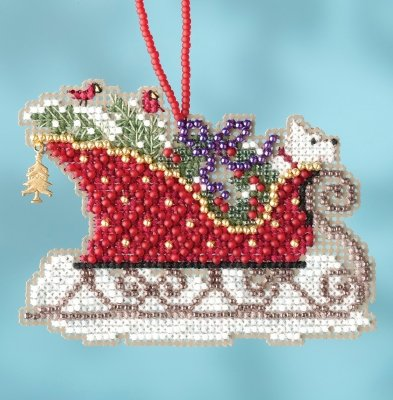 CS Kit Mill Hill Sleigh Ride Charmed Ornaments - Evergreen Sleigh