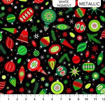 Northcott Christmas Magic Baubles Black