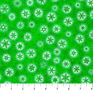 Northcott Christmas Magic Frosted Snowflakes Green
