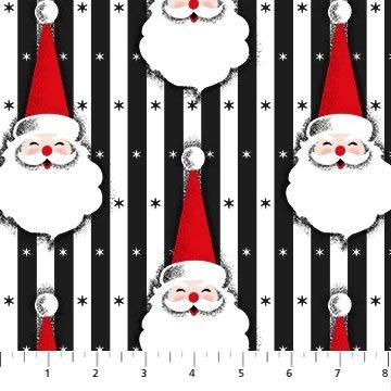 Northcott Christmas Magic Mid Mod Santa Black