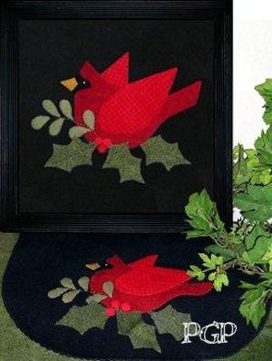 PT W Prairie Grove Peddler Cardinal Wool Embroidery