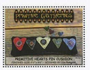 Kit W Primitive Gatherings Primitive Hearts Pin Cushion
