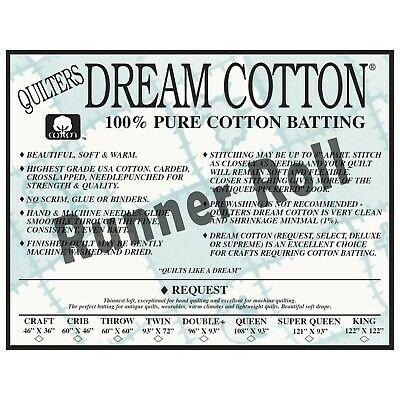 Batting Roll Dream Cotton Request Tablerunner Size 18 x 30yds