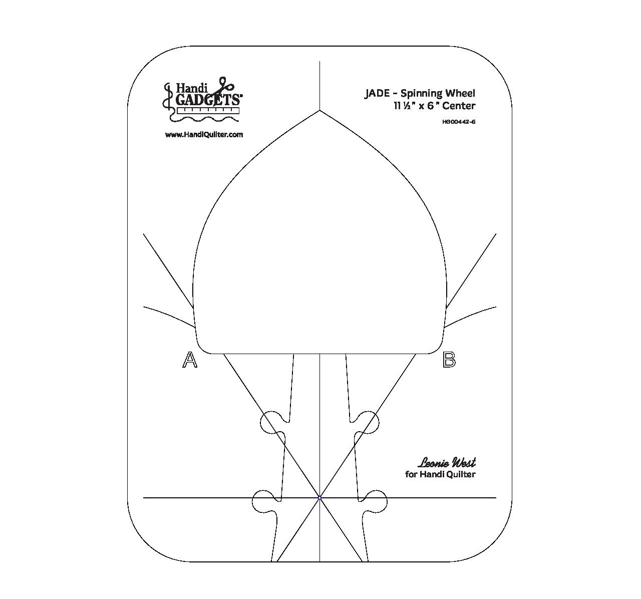 Handi Quilter Ruler JADE Spinning Wheel 11.5x6
