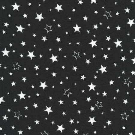 Robert Kaufman Cozy Cotton Flannel Black/White Stars