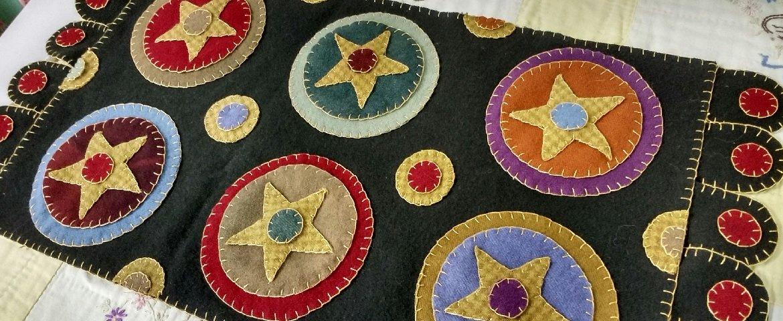 PT W Fredericksburg Penny Rug Pattern Folk Art Stars