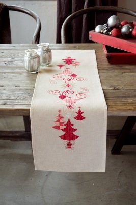 Kit CS Vervaco Red Christmas Decorations Runner