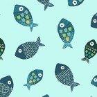 Clothworks Jungle Fever Med. Toss 2 Fish Lt. Turquoise
