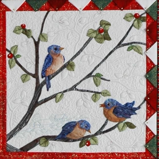 Blue birds block pattern from Audubons Christmas