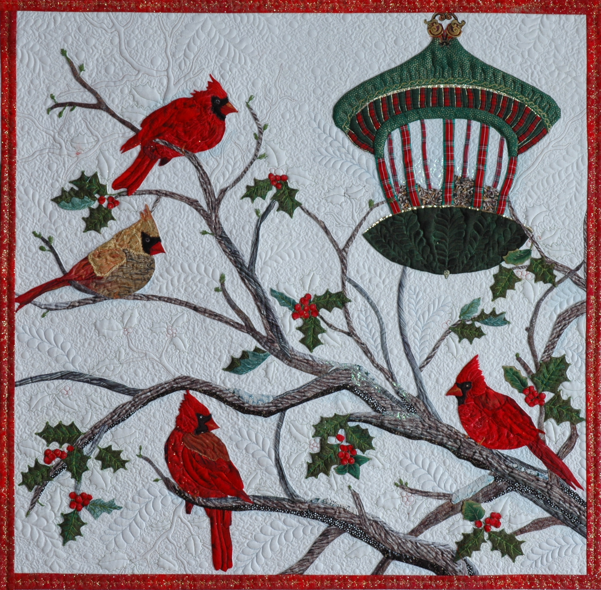 Audubon's Christmas patterns : cardinal quilt - Adamdwight.com