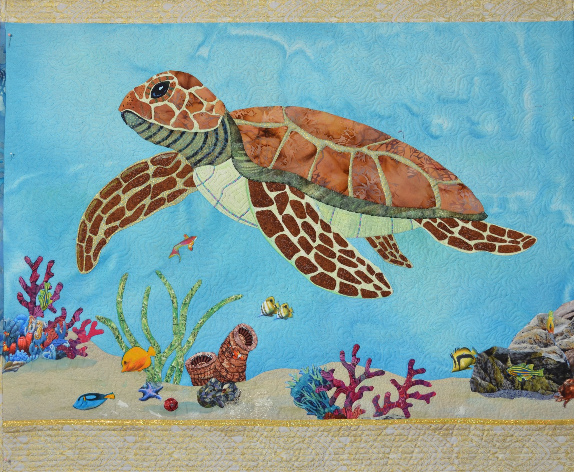 Coral reef and Sea Turtle applique pattern