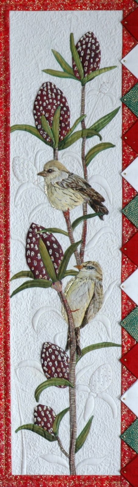 Yellow finches block pattern