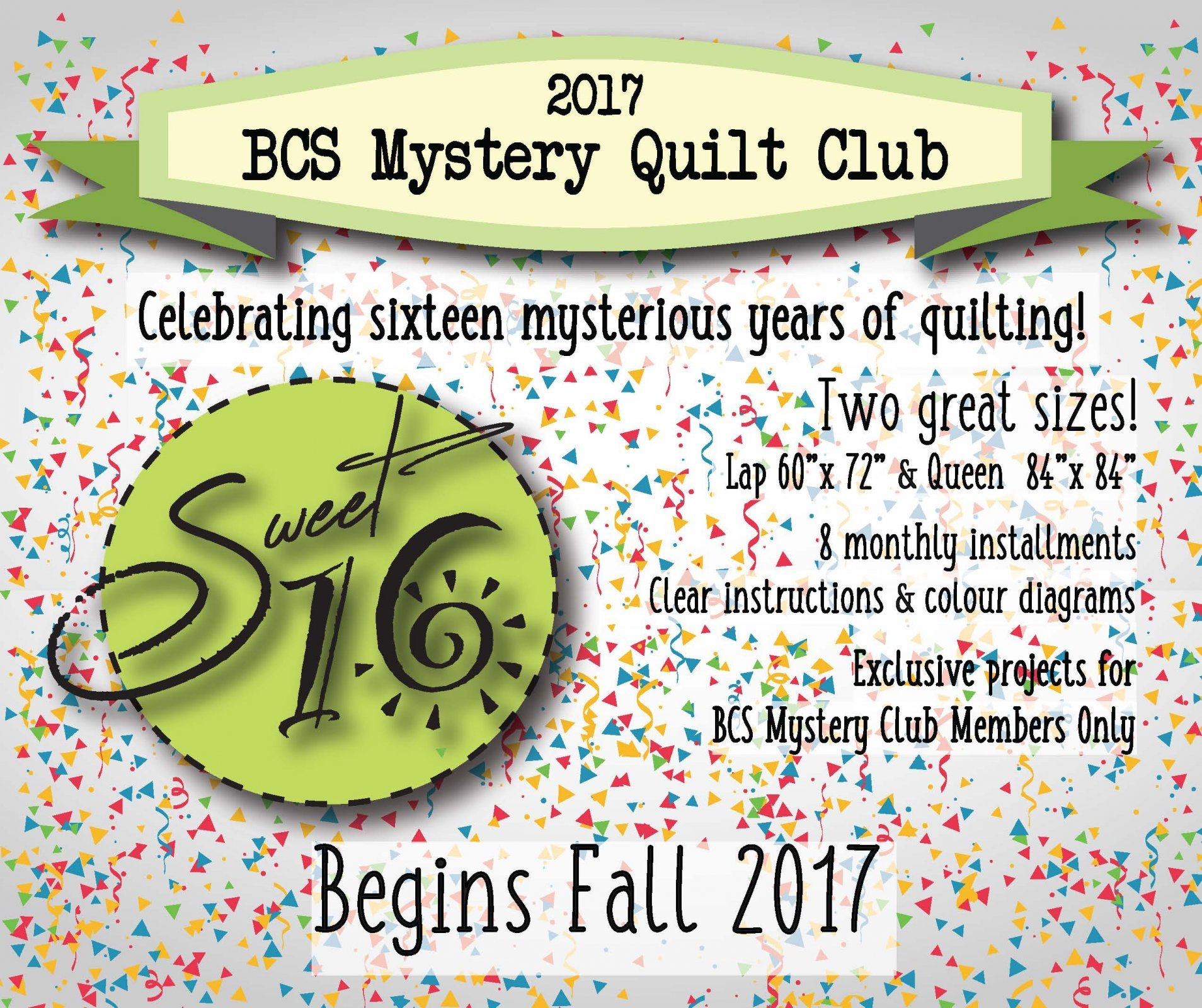 BCS Mystery Quilt Club - Sweet 16 : quilting club mysteries - Adamdwight.com