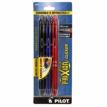 Frixion Clicker Pen Assortment Fine Point 0.7mm 3pk