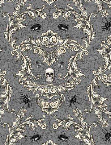 Gone Batty - 56063-919 - Creepy Crawley Damask Dark Gray