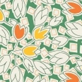 Green Tulips & Squares feedsack VI  30909-5