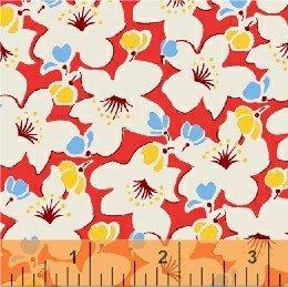 Red Cream Flowers feedsack 6