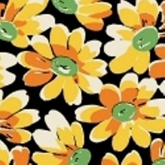 Black Large Daisies feedsack VI  30916-9
