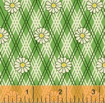 Green Daisy on Plaid feedsack VI 30918-5
