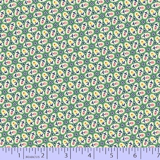 Aunt Grace Simpler Sampler Green Oval Flowers 5872-0314