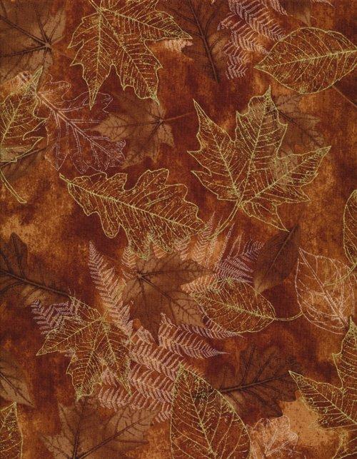 Brown Fossil Leaf Metallic Harvest Celebration cm6445brown