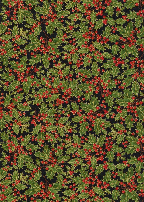 Holiday holly red and green holly berrys on black cm8786black