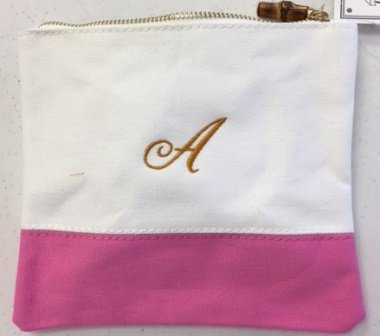 Colorblock Flat Zip White/Pink/ Personlize with one Letter