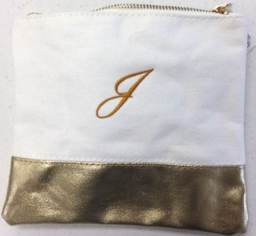 Colorblock Flat Zip White/Gold/ Personlize with one  Letter