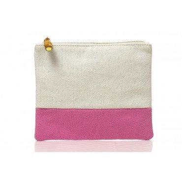 Colorblock Flat Zip White /Pink 001077