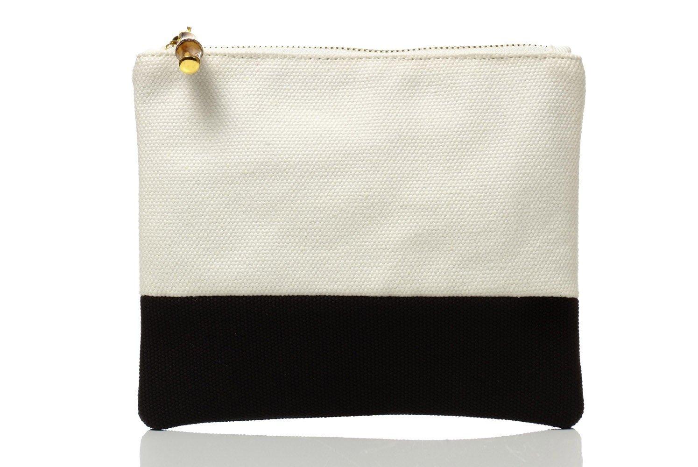 Colorblock Flat Zip White /Black  008359