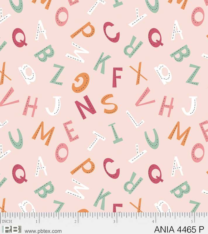 ANIMAL ALPHABET LETTERS ON PINK BY P&B TEXTILES