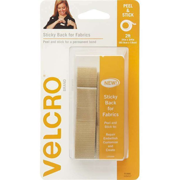 STICKY BACK VELCRO FOR FABRIC 24 INCHES COLOR BIEGE 91886
