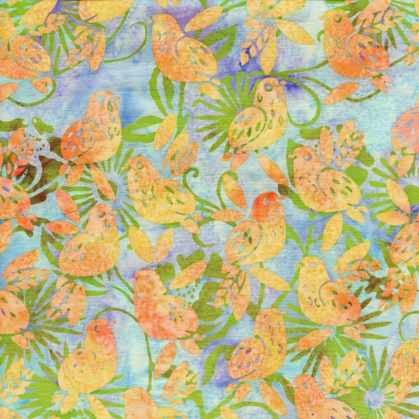 Batiks Sweet Treats Sea Mist Baby birds