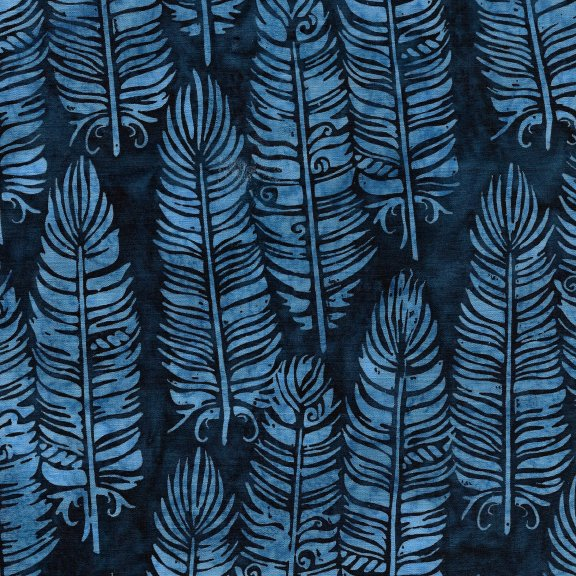 Batiks Prairie Vert Feather Navy