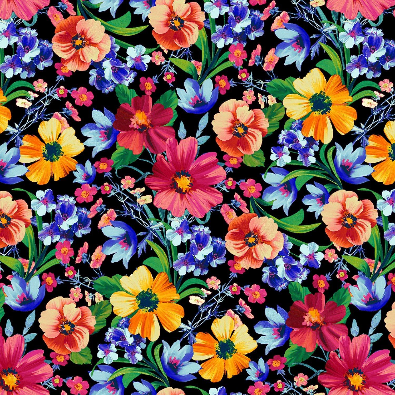 Butterfly Vortex, Black Floral