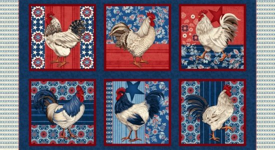 American Folk Navy Rooster Blocks