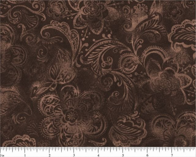 Quilt Back 108  Brown Floral