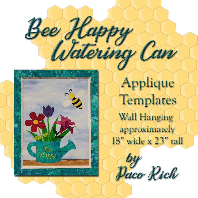 Bee Happy Watering Can Applique